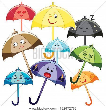 Set of cute multicolor umbrellas. Different emotion, smile. Set of Emoticons. Isolated vector illustration on white background.