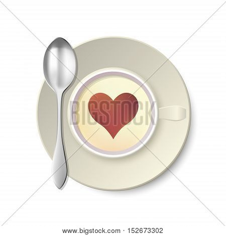 Coffee Cup with Spoon from Top. Vector Illustration
