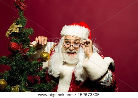 Funny santa claus man in eyeglasses with white beard and hair in new year red suit decorates Christmas tree with golden ball