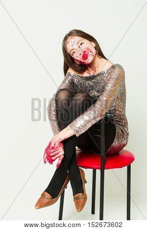 Zombie Girl On Bar Chair