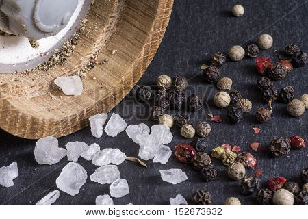 Pepper Grains, Sea Salt And Pepper Mill Background