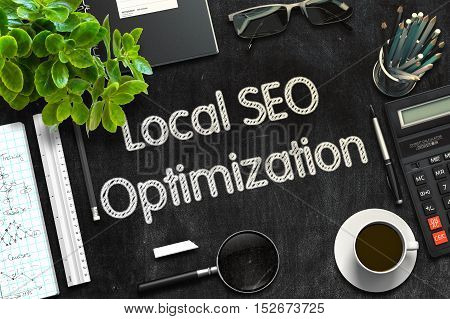 Local SEO Optimization Handwritten on Black Chalkboard. 3d Rendering. Toned Illustration.