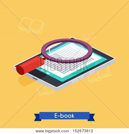 Flat 3d isometric e-book reader and books. E-learning. Flat design modern vector illustration concept.