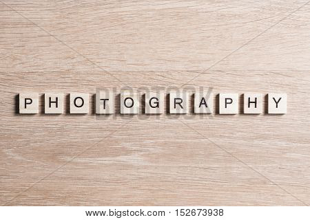 Word photography collected of wooden elements with the letters