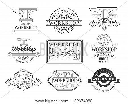 Best Wood Workshop Set Of Black And White Emblems. Classic Style Vector Monochrome Graphic Design Logo Set With Text On White Background