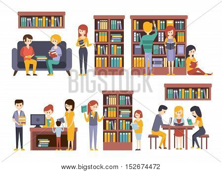 Library And Bookstore With People Reading And Choosing Books. People Buying Books And Studying Together. Flat Simple Bright Childish Illustration On White Background.