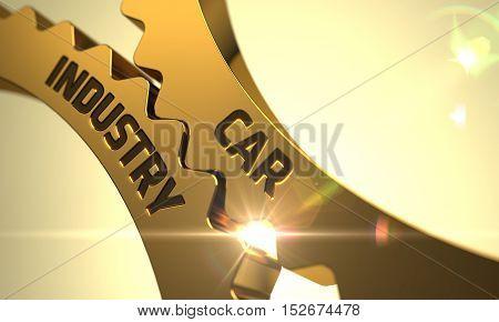 Car Industry on the Golden Metallic Cog Gears. 3D Render.