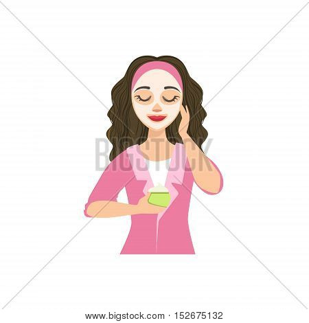 Woman Making Facial Mask Home Spa Treatment Procedure. Isolated Portrait In Simple Cute Vector Design Style On White Background