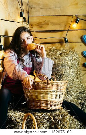 Pretty Girl On Straw Bales