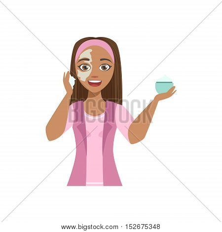 Woman Applying Mosturizing Cream Home Spa Treatment Procedure. Isolated Portrait In Simple Cute Vector Design Style On White Background