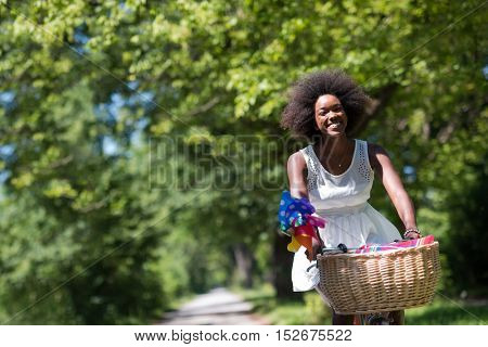 beautiful young African American women enjoy while riding a bicycle in the woods on a sunny summer day