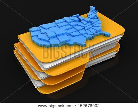 3D Illustration. Folders and files with map of USA. Image with clipping path