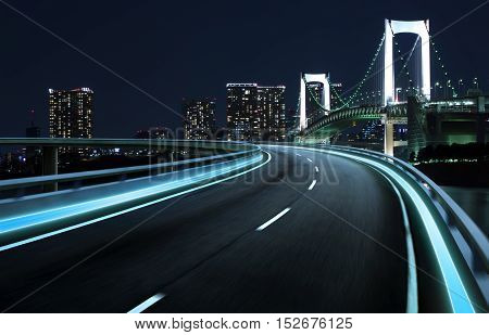 Moving forward motion blur background night scene