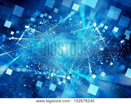 Blue glowing connections in space with particles big data computer generated abstract background 3D render