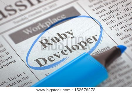 Ruby Developer. Newspaper with the Job Vacancy, Circled with a Blue Highlighter. Blurred Image. Selective focus. Concept of Recruitment. 3D.