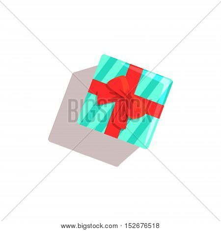Gift Classic Christmas Symbol Colorful Illustration. Traditional Holiday Elements Bright Color Isolated Drawing On White Background.