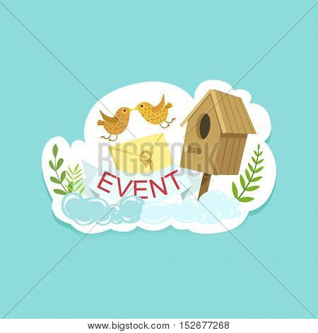 Event Template Label Cute Sticker With Birds And Letter. Childish Design Colorful Vector Sticker On Bright Background.