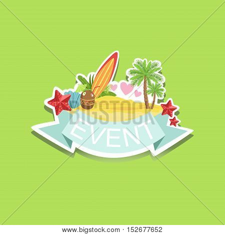 Surfing Event Template Label Cute Sticker. Childish Design Colorful Vector Sticker On Bright Background.