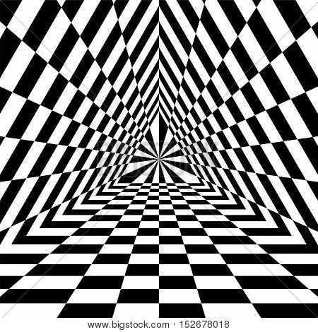 Vector Illustration. Triangle Abyss. Black and White Rectangles Expanding from the Center. Optical Illusion of Volume and Depth. Suitable for Web Design.