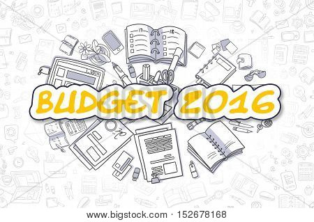 Cartoon Illustration of Budget 2016, Surrounded by Stationery. Business Concept for Web Banners, Printed Materials.