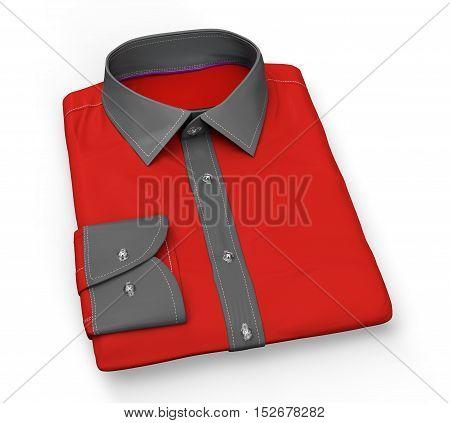 Shirt Folded Flat, Isolated On White