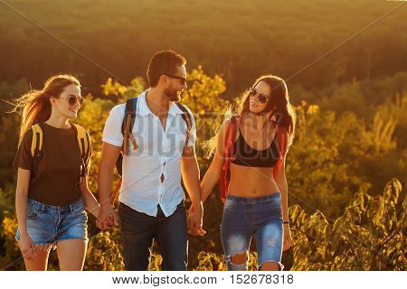Bearded Handsome Man With Girls