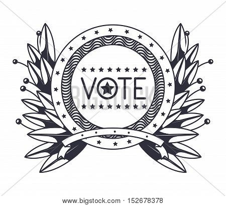 Vote seal stamp with wreath icon. Election government presidential and campaign theme. Isolated design. Vector illustration