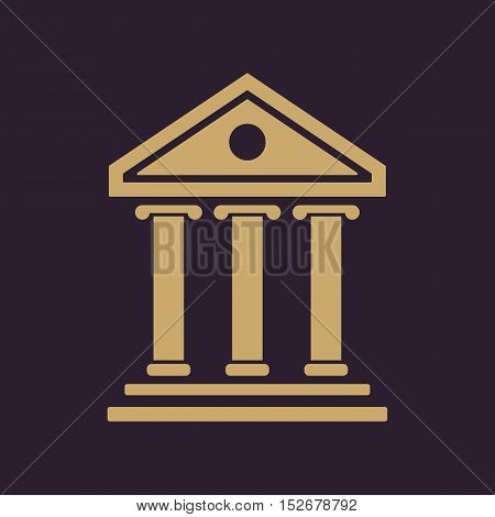 The bank icon. Building facade symbol. Flat Vector illustration