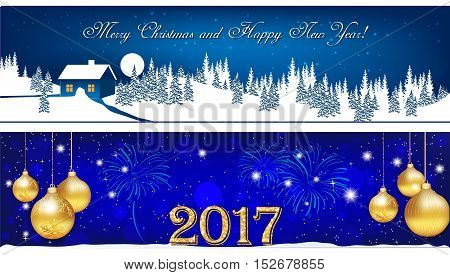 Banner set for Christmas and New Year 2017. Blue banners for winter holidays: Christmas and New year 2017 with Christmas baubles, winter landscape, fireworks. Size 950x250