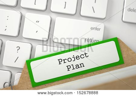 Project Plan written on Green Folder Register on Background of Modern Laptop Keyboard. Closeup View. Selective Focus. 3D Rendering.