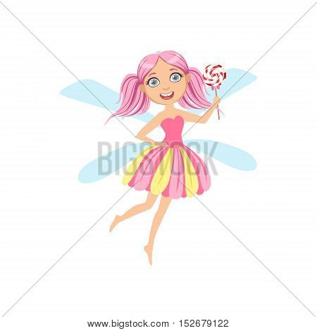 Cute Fairy With Lollypop Girly Cartoon Character.Childish Design Fairy-tale Creature Simple Adorable Illustration.