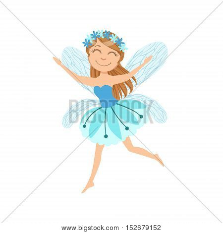 Cute Fairy With Chaplet Girly Cartoon Character.Childish Design Fairy-tale Creature Simple Adorable Illustration.
