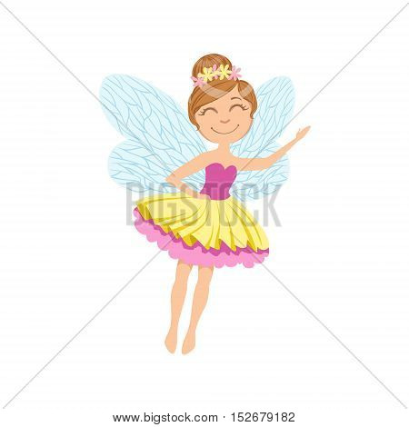 Cute Fairy In Layered Tutu Girly Cartoon Character.Childish Design Fairy-tale Creature Simple Adorable Illustration.