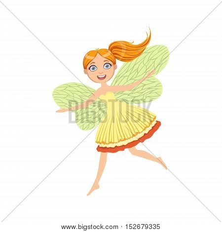 Cute Redhead Fairy Girly Cartoon Character.Childish Design Fairy-tale Creature Simple Adorable Illustration.