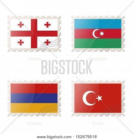 Postage Stamp With The Image Of Georgia, Azerbaijan, Armenia, Turkey Flag.