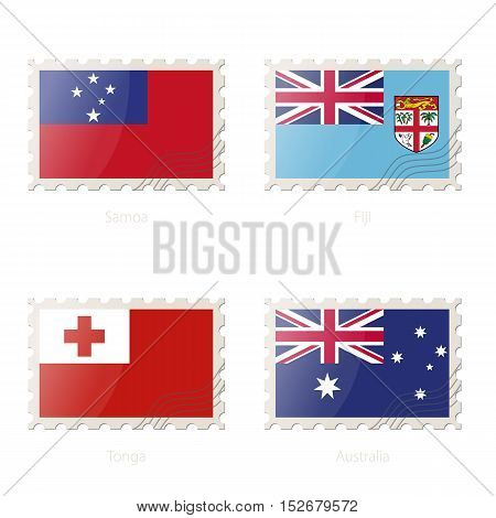 Postage Stamp With The Image Of Samoa, Fiji, Tonga, Australia Flag.