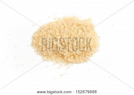 Demerara Sugar. Close-up Photo on white background. Isolated