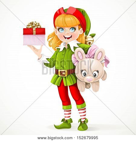 Cute Girl Elf Santa's Assistant Holding Underarm Large Plush Toy Hare And Box With A Gift In The Oth
