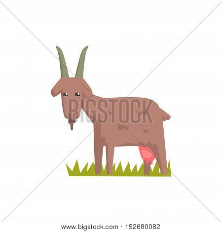 Grey Goat Toy Farm Animal Cute Sticker.Bright Color Funky Flat Drawing In Geometric Style.