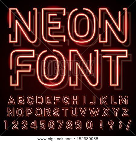 Illustration with the image of neon signs. retro design.Objects are made and represent the old style and old time.