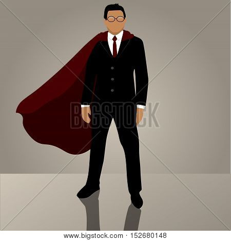 Very high quality oriiginal trendy vector businessman in suit or jacket with superhero red cloak Success growth business concept.