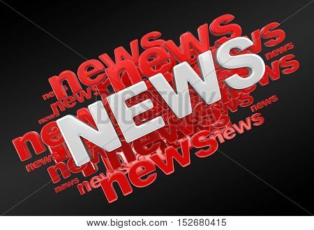 3D Illustration. Word News. Image with clipping path
