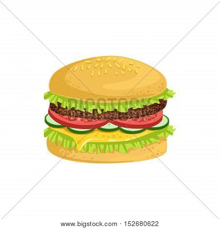Burger Street Food Menu Item Realistic Detailed Illustration. Take Away Lunch Icon Isolated On White Background.