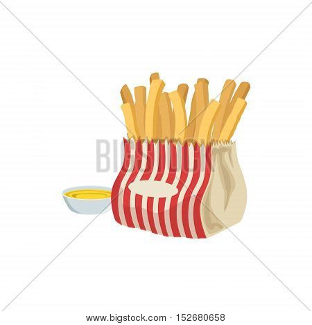 Fries With Sauce Street Food Menu Item Realistic Detailed Illustration. Take Away Lunch Icon Isolated On White Background.