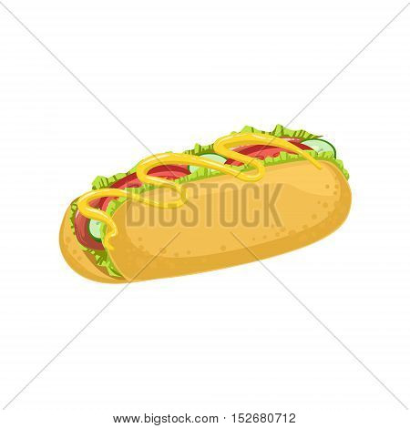 Hot Dog Street Food Menu Item Realistic Detailed Illustration. Take Away Lunch Icon Isolated On White Background.