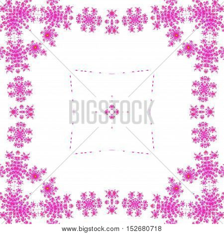 Bright pink ornate symetrical square frame framed background