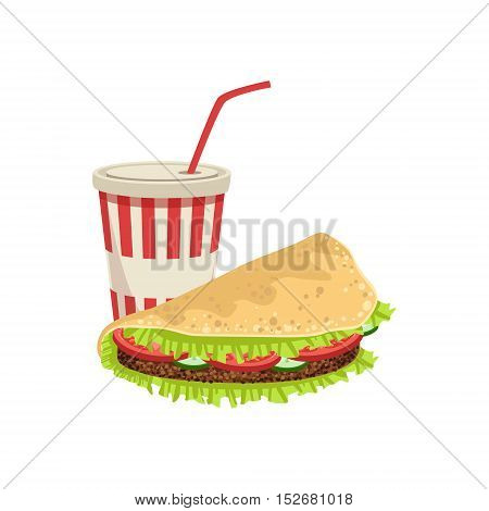 Taco And Soft Drink Street Food Menu Item Realistic Detailed Illustration. Take Away Lunch Icon Isolated On White Background.