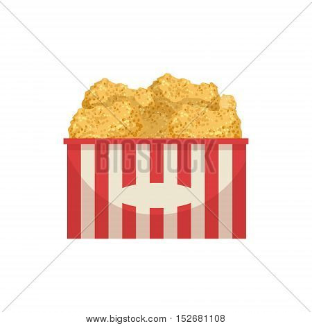 Chicke Nuggets Street Food Menu Item Realistic Detailed Illustration. Take Away Lunch Icon Isolated On White Background.