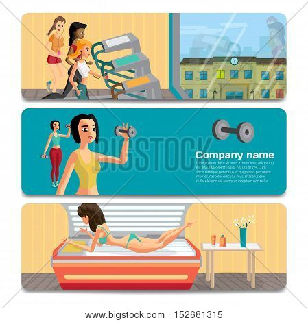 Young women play sports, sunbathe in the solarium. Sale discount gift card. Branding design to the gym and sports club