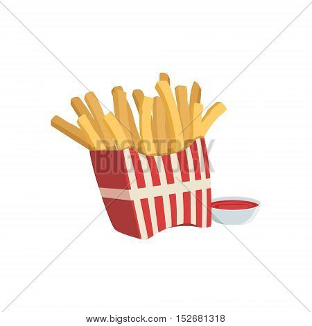 French Fries And Ketchup Street Food Menu Item Realistic Detailed Illustration. Take Away Lunch Icon Isolated On White Background.